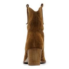 Koniakowe welurowe botki w stylu country na niskim obcasie 36A