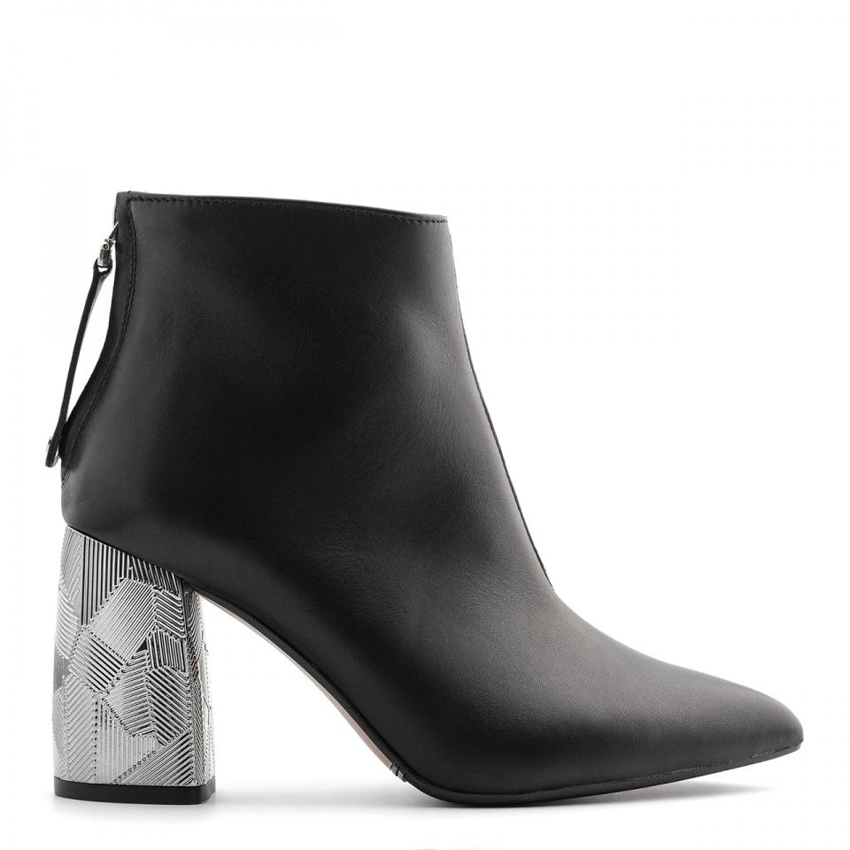 Czarne skórzane botki na srebrnym obcasie