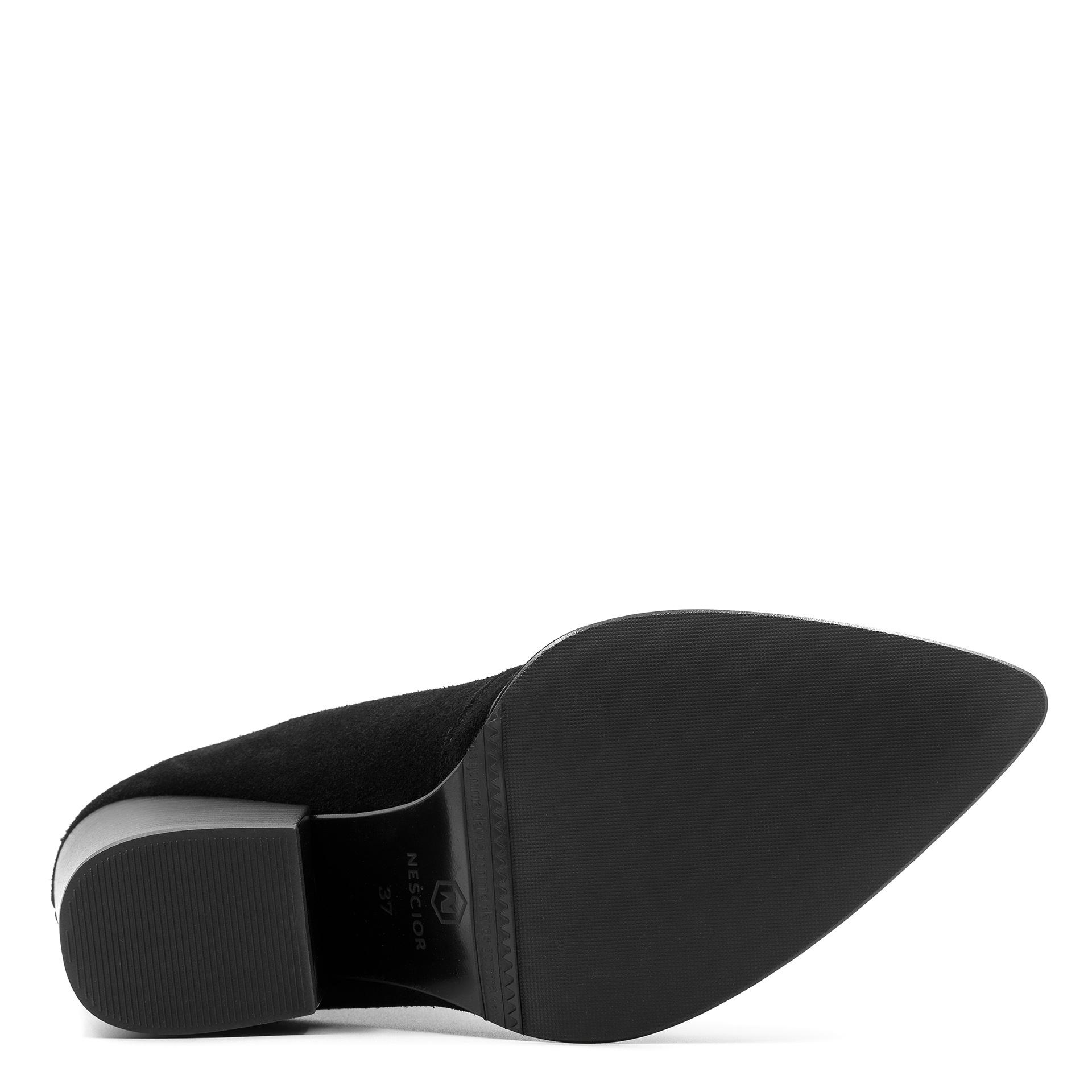 Czarne welurowe botki z rozcięciem z przodu 270B