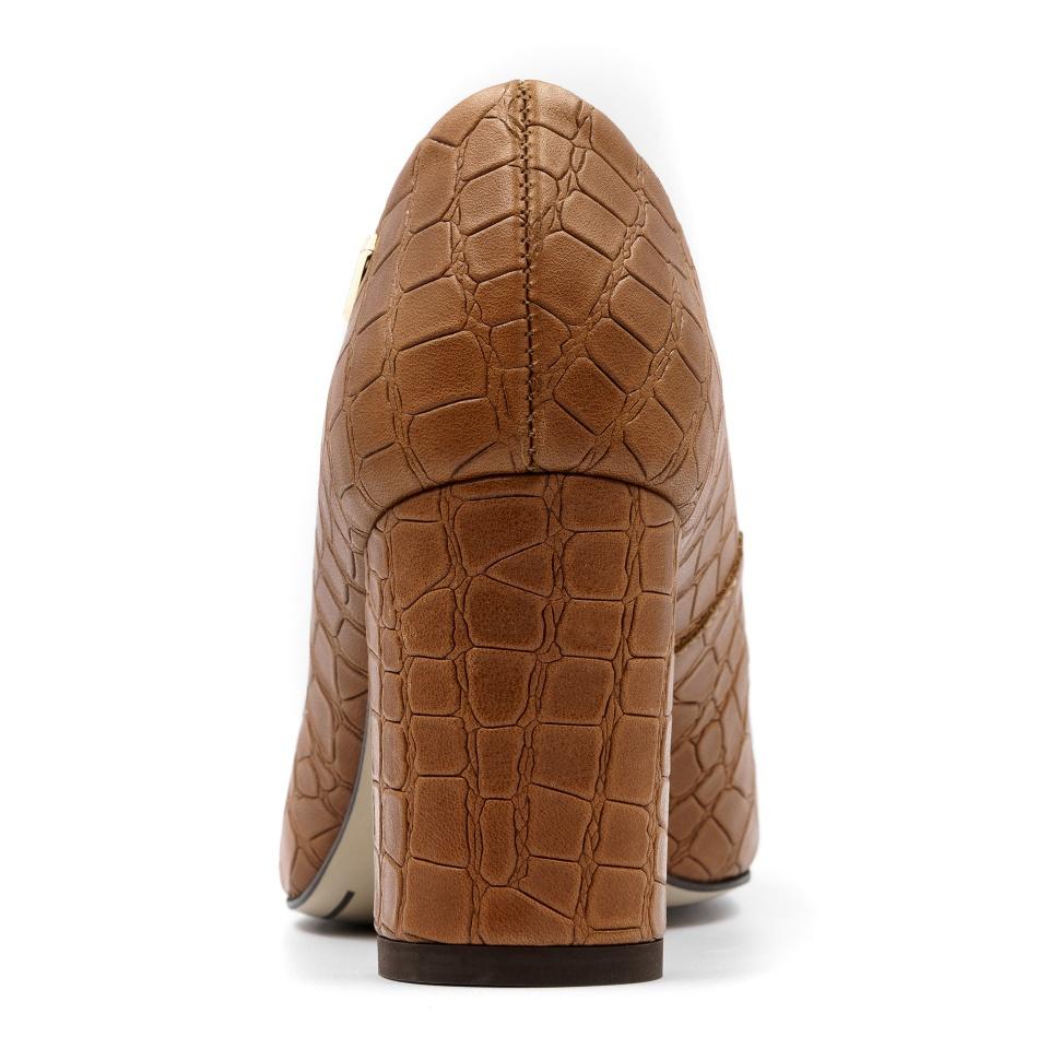 Koniakowe skórzane czółenka w krokodyli wzór na niskim słupku 78D1