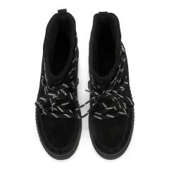 Czarne płaskie welurowe sznurowane botki 217S