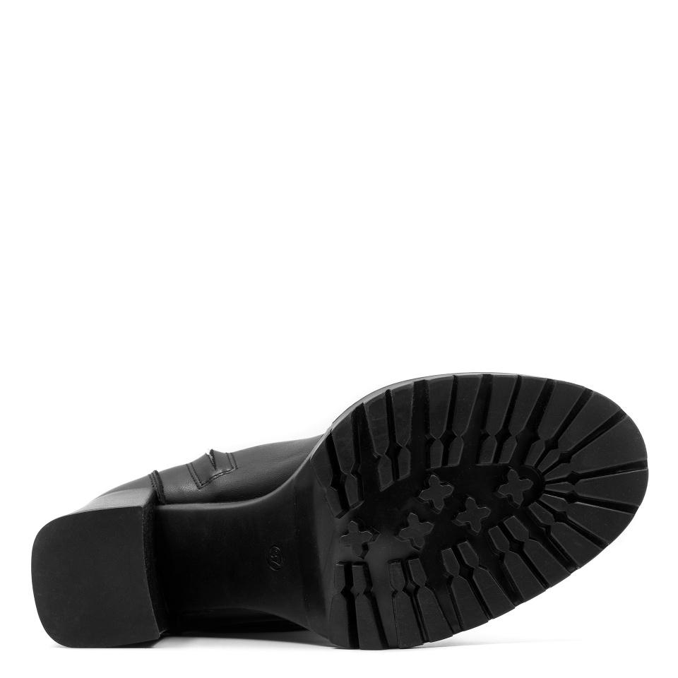 Czarne skórzane sznurowane botki na grubym słupku i grubej podeszwie 272B
