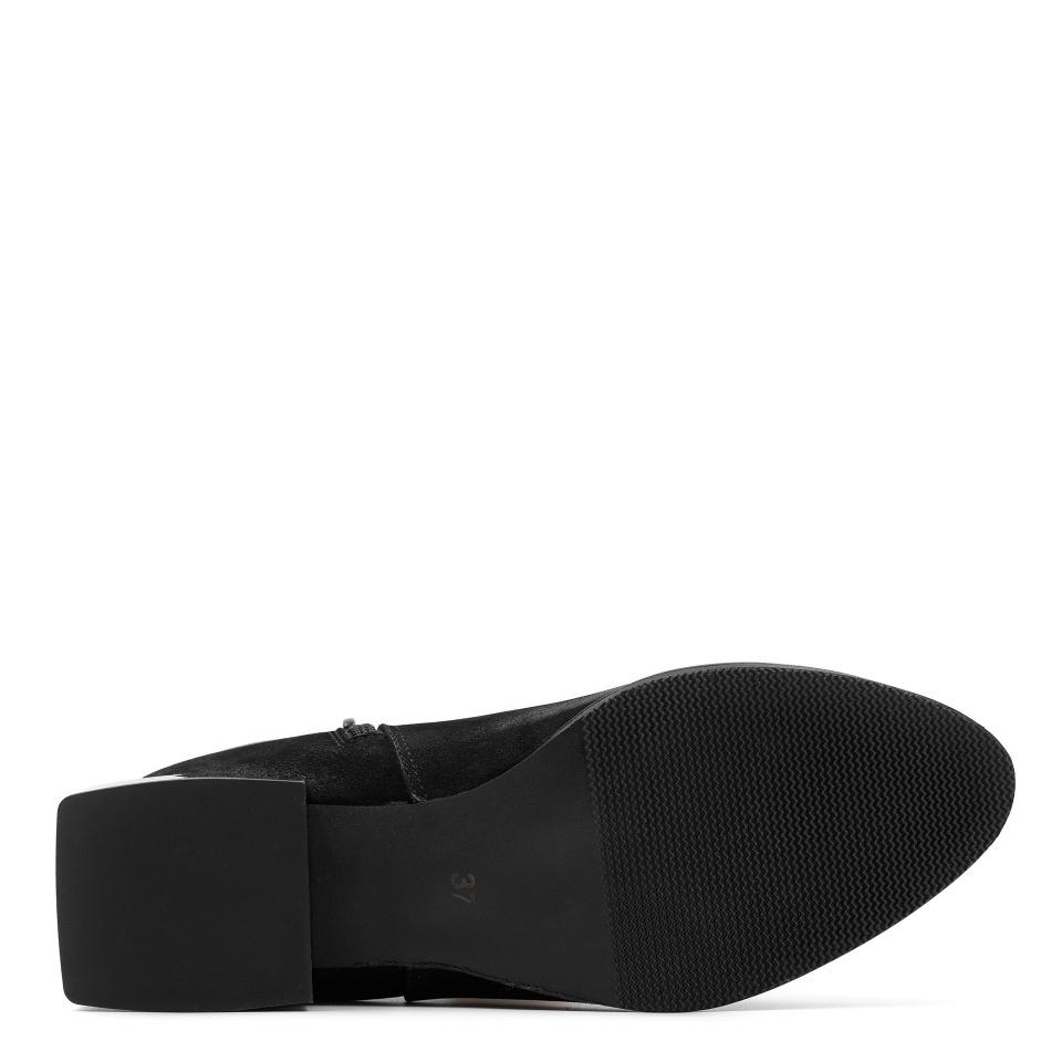Czarne nubukowe botki na kwadratowym srebrnym obcasie 28G