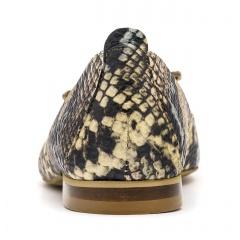Czarne skórzane baleriny w krokodyli wzór ze złotą ozdobą 263 D