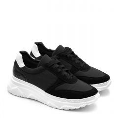 Sportowe czarne sneakersy na białej podeszwie 256G