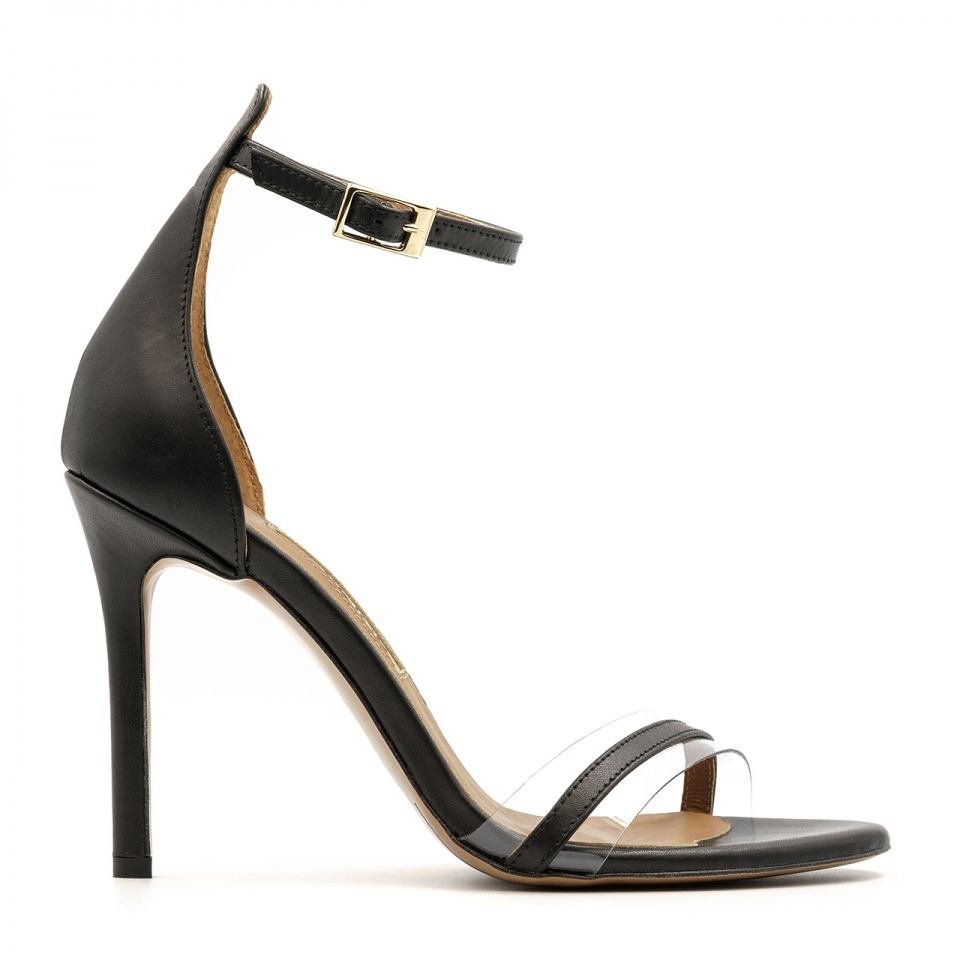 Czarne szpilki sandały zapinane wokół kostki z sylikonowym paskiem z przodu 103H
