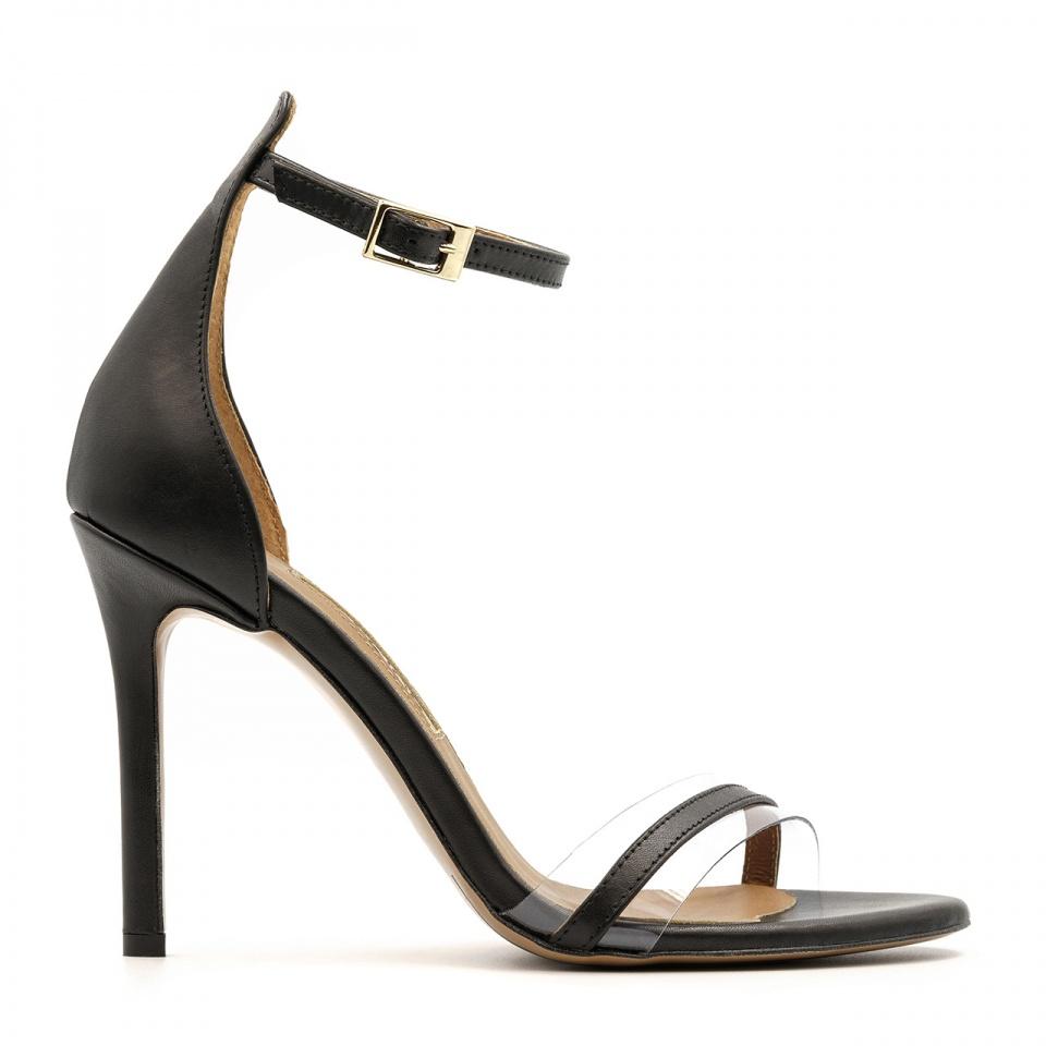 Czarne szpilki sandały zapinane wokół kostki  z sylikonowym paskiem z przodu103H