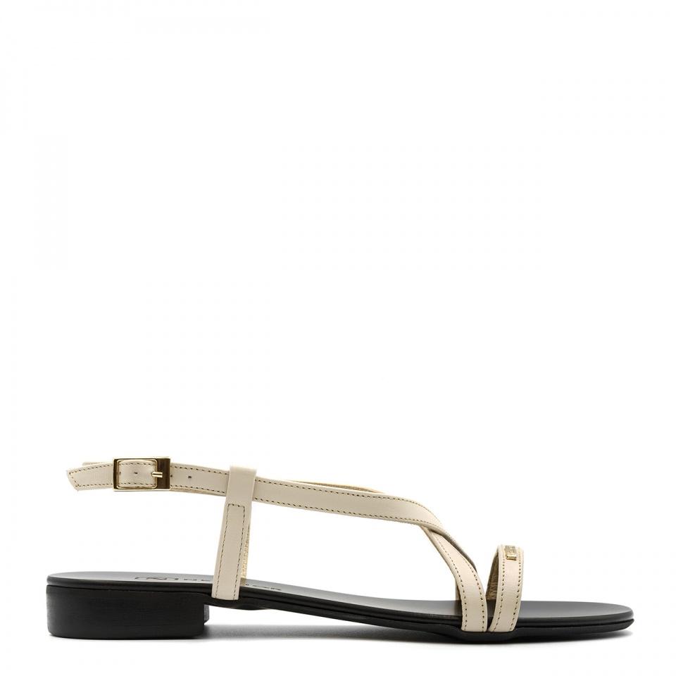 Złote skórzane sandały 09P