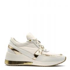 Sportowe białe sneakersy typu chunky ze złotą wstawką 278B