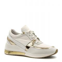 Sportowe białe sneakersy typu chunky ze złotą wstawką w podeszwie 278B