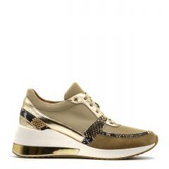 Sportowe beżowe sneakersy typu chunky ze złotą wstawką w podeszwie 278B