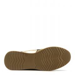 Sportowe beżowe sneakersy typu chunky ze złotą wstawką 278B