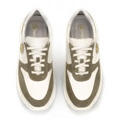 Sportowe białe sneakersy ze skórzanymi elementami 256A