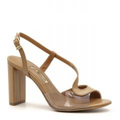 Karmelowe skórzane eleganckie sandały z sylikonu na słupku 33C