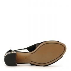 Czarne zamszowe sandały na ozdobnym niskim słupku 23A