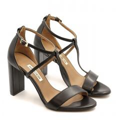 Brązowe skórzane wygodne sandały na wysokim słupku 33D
