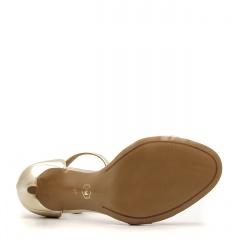 Karmelowe szpilki sandały zapinane wokół kostki z sylikonowym paskiem z przodu 103H