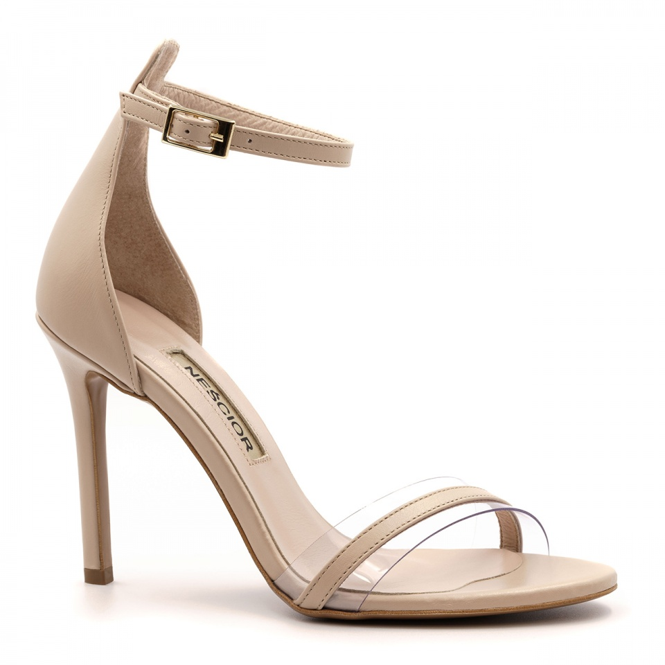 Pudrowo różowe szpilki sandały z sylikonowym paskiem 103H
