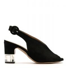 Czarne zamszowe sandały na przezroczystym słupku 114A