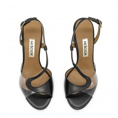 Czarne skórzane eleganckie sandały z sylikonu na słupku 33C