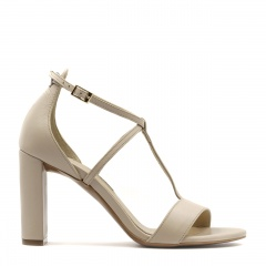 Beżowe skórzane sandały z paskami na wysokim słupku 33D