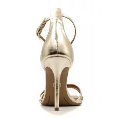 Złote skórzane sandały na szpilce z kwadratowym noskiem 116P