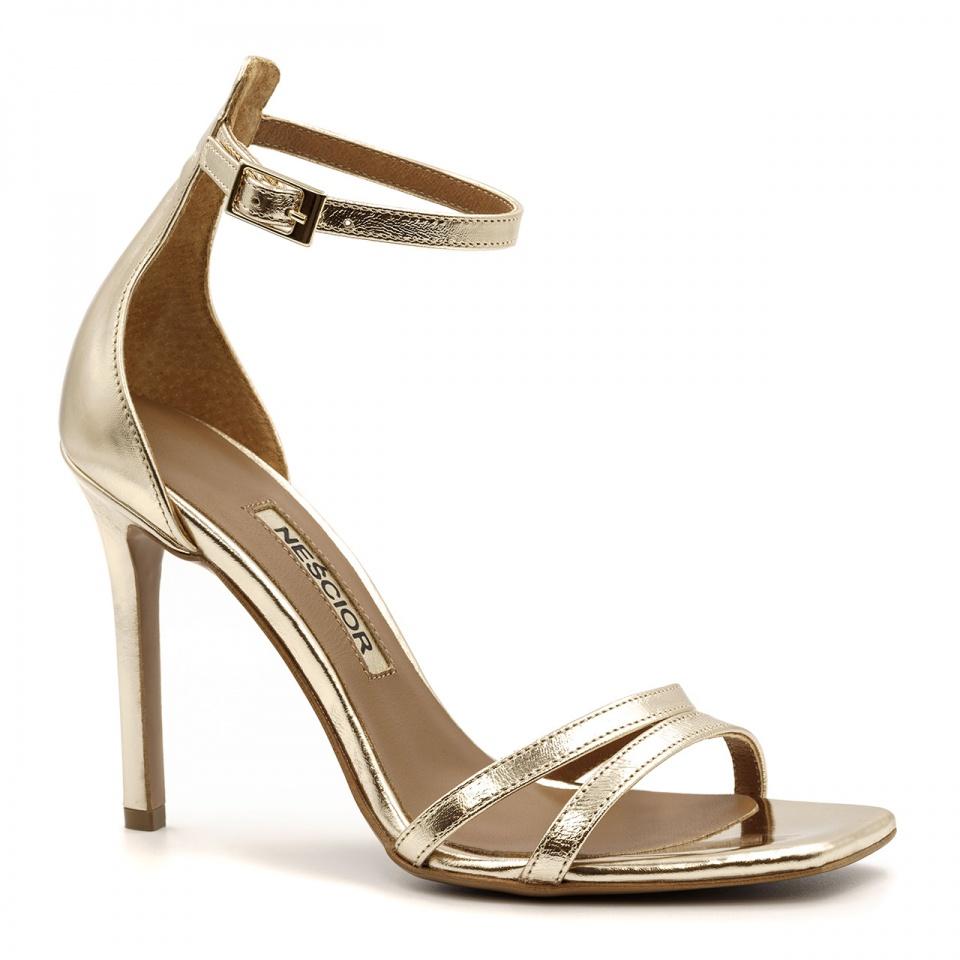 Złote skórzane szpilki sandały z kwadratowym noskiem 116P