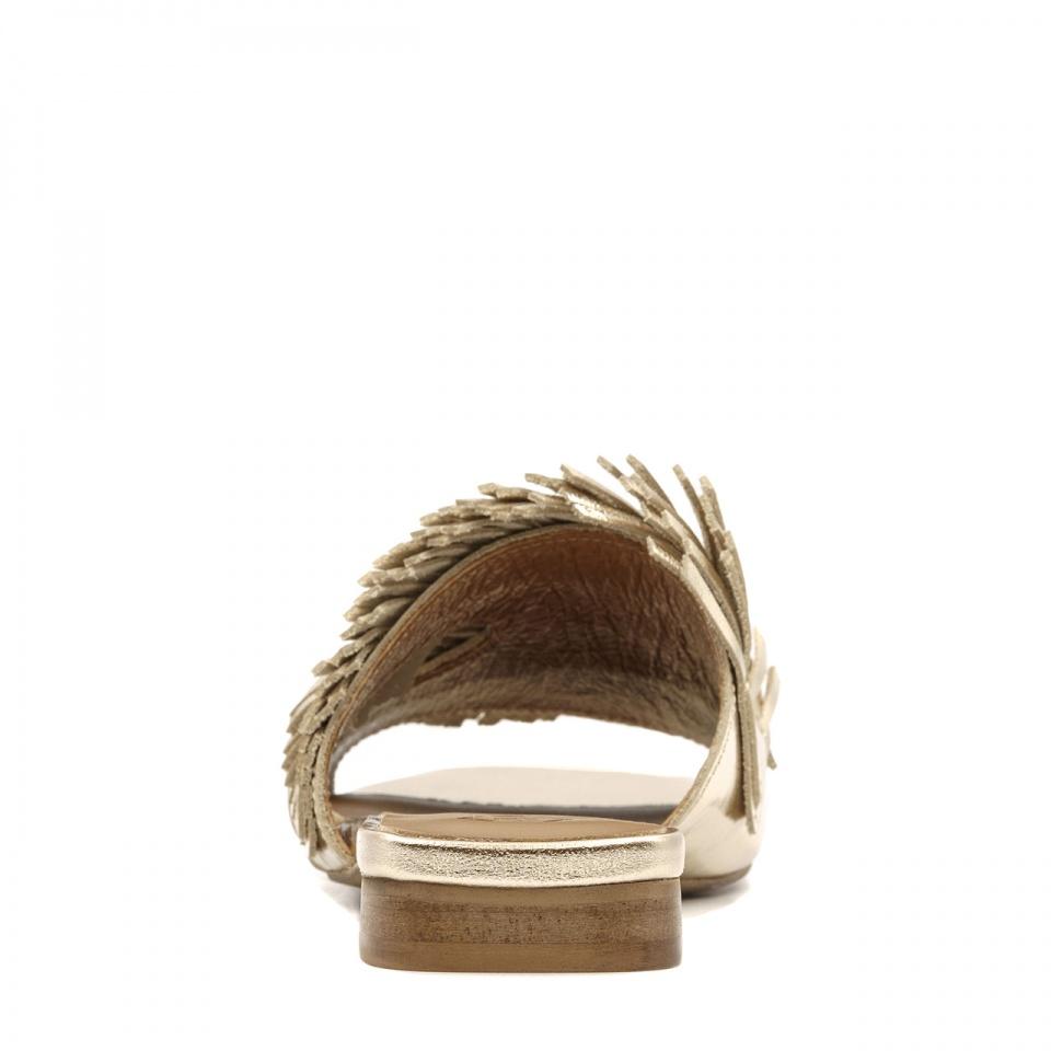 Złote eleganckie skórzane klapki 82L