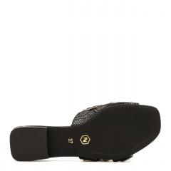 Czarne eleganckie skórzane klapki 82L