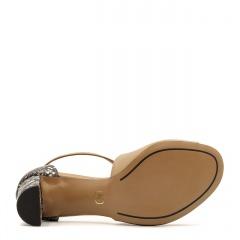 Rude skórzane sandały na niskim słupku 209E